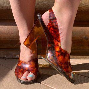 Vintage 70s Lucite Plastic Sculptural Heels 5.5/6
